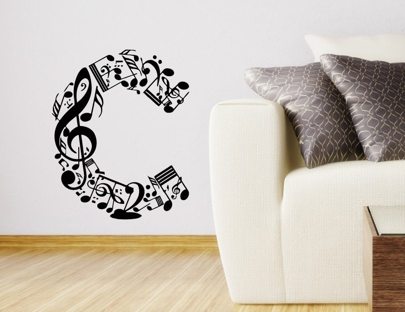 Personalized Wall Decor Letters : Wall decals personalized music letter decal vinyl sticker