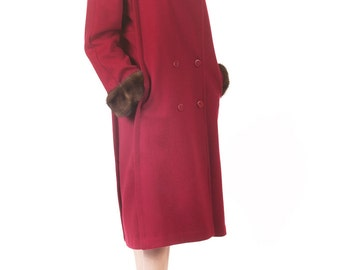 Vtg 80s Long Ruby Red Double-breasted Wool Coat, Great Condition, Size Small/Medium