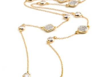 Gold Long Station Necklace with Crystal and Glass