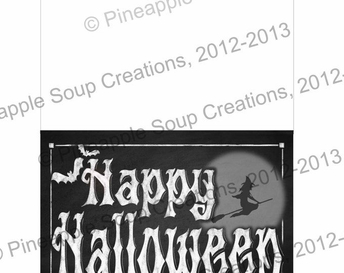 Chalkboard Style Printable Halloween Greeting Card - instantly available for download