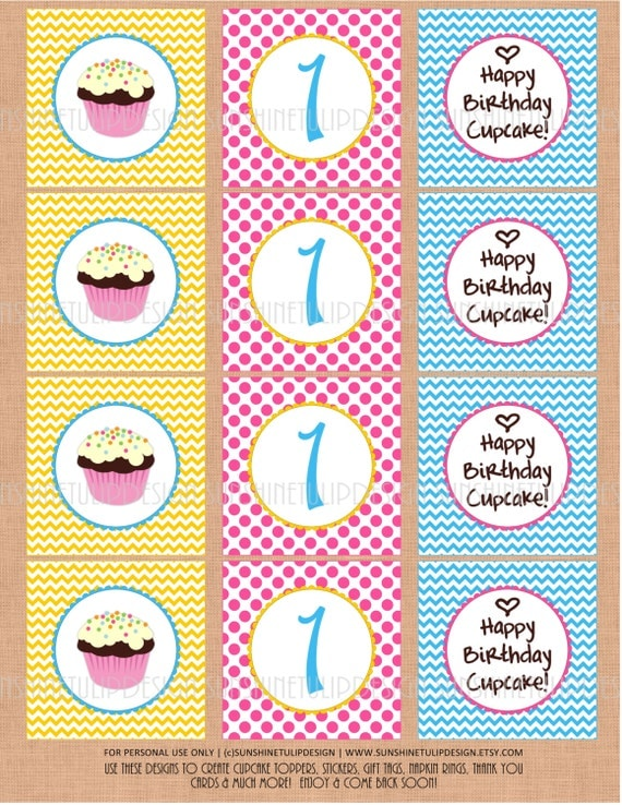 1st birthday cupcake printable diy party tags and cupcake toppers by