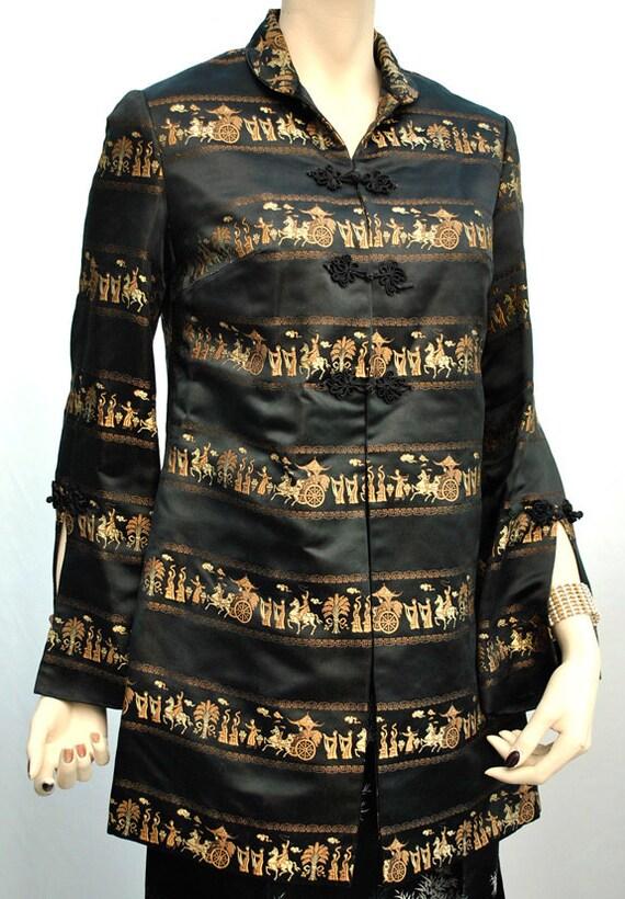 Vintage nero seta raso broccato sera opera coat con di for Serpente nero italiano