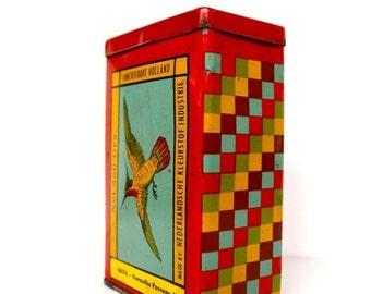 secret santa gift, Tin canister, Tin box, Metal box, rustic decor, kitchenalia red decor 1970 industrial
