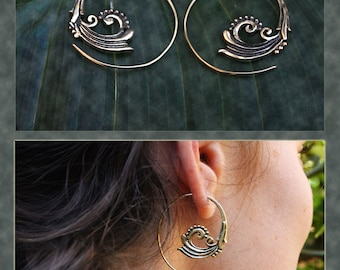 Brass Spiral Wave Tribal Earrings, Small Size