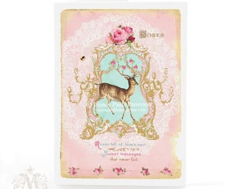 Deer, card, pink, birthday card, vintage style, antlers, pink roses, love, lace doily, holiday card, blank inside, glitter option