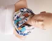 Infinity Scarf - Loop Scarf - Circle Scarf - Flower Scarf - White, dark blue, blue