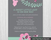 Ladybug Baby Shower Invitation - Pink, Mint Green, Gray - Digital File -  Item 145B