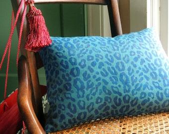 Hand block printed ultramarine leopard spot on teal blue green linen home decor colorful decorative pillow cover