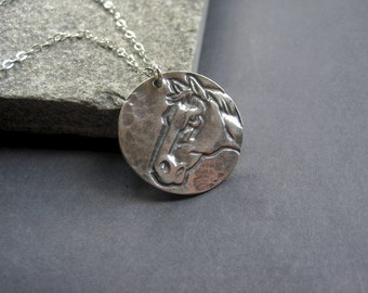Horse Necklace - Sterling Silver Horse Necklace -  Sterling Silver Rustic Necklace - Equestrian Necklace