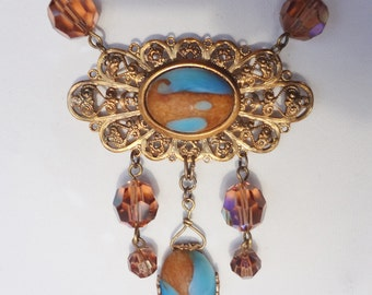 Vintage Necklace with Turquoise and Amber Glass