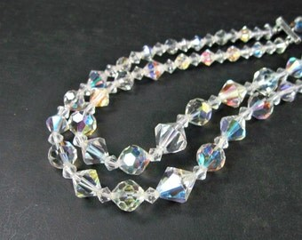 Vintage 1950s Glass Bead Necklace - Double Strand - Choker - Clear AB - Wedding - Mid Century