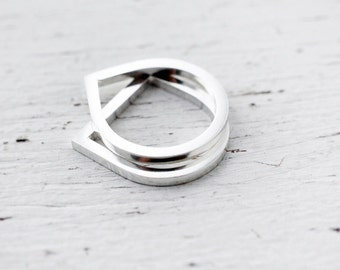 Adam and Eve solid silver stacking rings