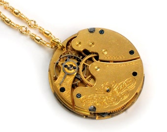 Antique 1900 Elgin Pocket Watch Movement Steampunk Necklace