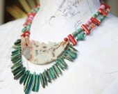 LOVE GODDESS tribal statement necklace OOAK  jewelry agate turquoise coral sterling silver global ethnic style