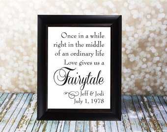 Once in a while right in the middle of an ordinary life, Love gives us a fairytale with Names and Date.  DIY Printable File, Wedding sign.
