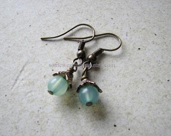 Tiny dangle earrings | sea foam green | spring | small