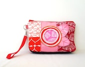 Wristlet Clutch Purse in Neon Pink Red Orange OOAK Handmade Pouch Make Up Case - OnePerfectDay