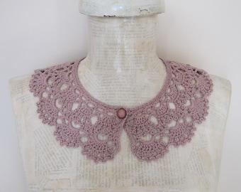 Crochet Necklace, Peter Pan Collar, Lace Neckpiece, Crochet Collar, Vintage Style Collar, Purple, Ivory, Beige, White Collar, Black Collar