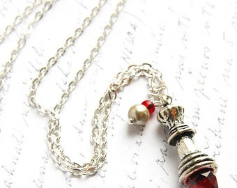Silver Chain Necklace, Chess Queen Pendant, Red Quartz Crystal, Wire Wrapped Pearl Charm Necklace, Antique Silver Chess Piece