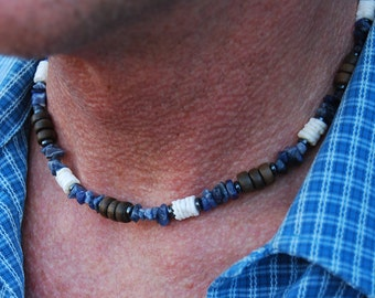 Poseidon's Adventures - 19 Inch Handcrafted Gemstone Necklace - Hematite, Sodalite, Wood & Sea Shell - SGArtCA - Tribal Chic Jewelry