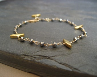 Spike pyrite bracelet - goldfilled and vermeil
