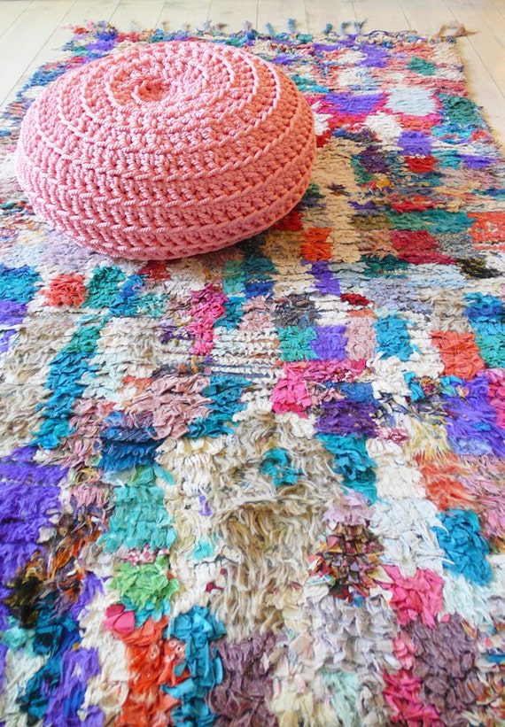 """Vintage Moroccan Rag Rug - BOUCHEROUITE """"Paul Kleer"""""""