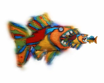 Whimsical Colorful Funky Fish Art Limited Edition Print - Big Fish Eat Little Fish - Bigger is Better - Beach House, Cottage, Lake House Art