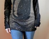Black Cat Shirt, Long Sleeve Shirt, Halloween Shirt, Galaxy Cat Shirt, Space Cat, Cat Shirt Women, Bleached Shirt - Galaxy Print
