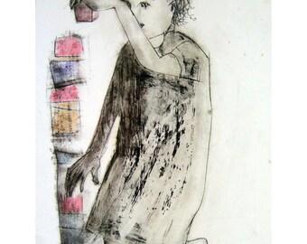 Child drawing original technique art girl boy people figurative blocks