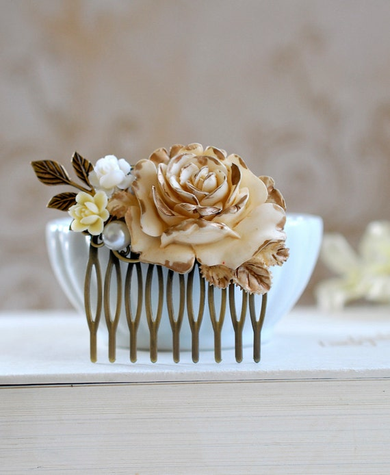 Bridal Hair Comb Gold Ivory Rose Shabby Chic Ivory Flower Antique Gold Leaf Country Wedding Rustic Wedding Hairpiece Bridal headpiece