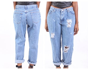 All SIZES High Waist Destroyed Boyfriend Jeans Plus Sizes
