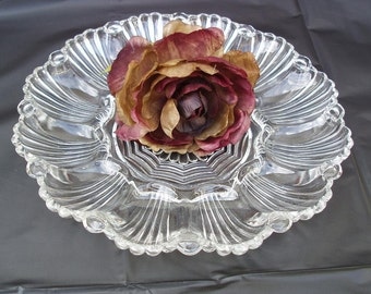 Vintage Deviled Egg Platter | Egg Plate | Glass Egg Tray | Serving Tray | Anchor Hocking Scallop Shell