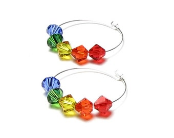 Rainbow Colors Swarovski Crystal Silver Hoop Earrings, Bright Colorful Jewelry, Red Orange Yellow Green Blue, Rainbow Jewelry, Gift for Teen