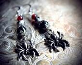 Spooky Spider earrings, halloween jewelry, red, black, gunmetal, filigree, antiqued, gothic, vintage, dangles, nickel free, horror, dark