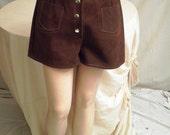 Vintage Shorts  Hot Pants  1970s Shorts  Vintage Shorts  Suede Shorts  1970s Vintage Suede Hot Pants or Shorts Snap Fly Super Foxy 28 waist