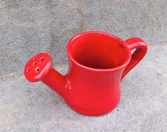 Adorable Red Ceramic Flower Waterer Planter Retro Kitchen Office