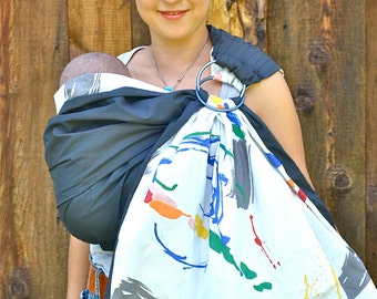 FREE SHIPPING. Baby Ring. Sling Baby Carrier. Reversible Sling. 2 Lyrs of High Quality 100% Cotton -Pure Abstract- Baby Carrier