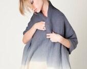 Gray Ombre Pashmina Wrap - Luxury Hand Woven Merino blanket Scarf, Women's ponchos