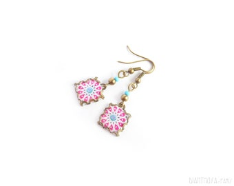 Star pattern tile earrings. Arabesque Mosaic
