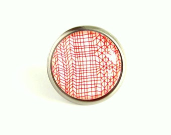 Red White Glass Dresser Cabinet Drawer Knob Nursery Bathroom Kitchen Geometric