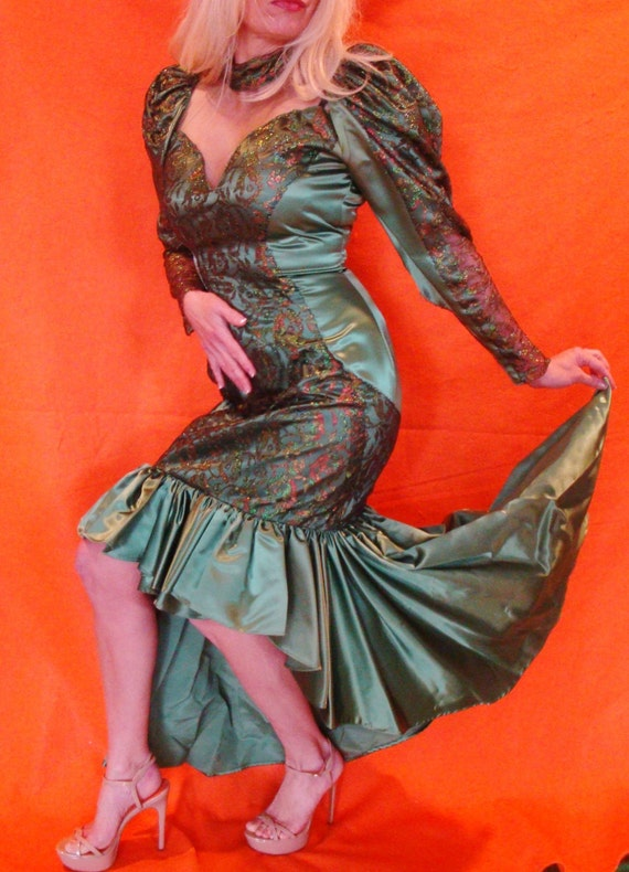 Snot Green Ugly 80s Bridesmaid Dress Hideous Tacky Novelty