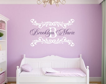 Name Wall Decal Damask Wall Decal Shabby Chic Heart Frame Personalized Name and Initial Vinyl Wall Decal for Girl Baby Nursery WA332