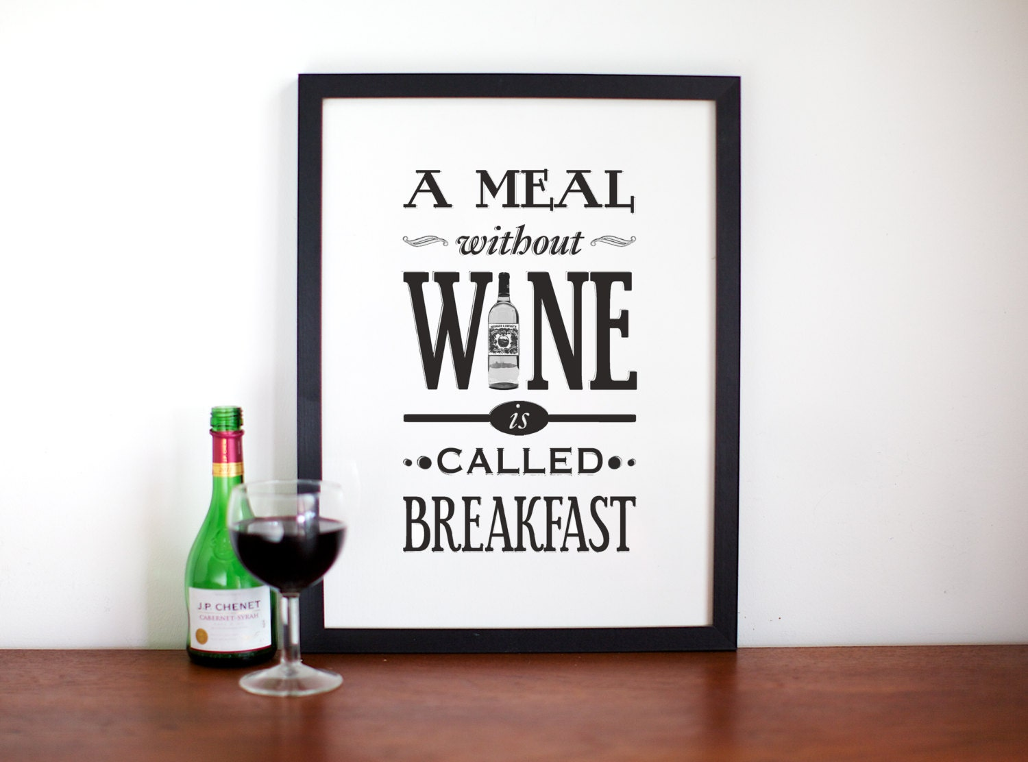 wine poster a meal without wine kitchen art wine print. Black Bedroom Furniture Sets. Home Design Ideas