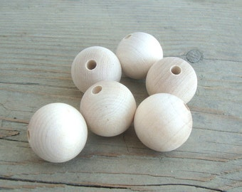 35 mm wooden beads set of 10 natural wood large round beads for making jewelry crafting XXL