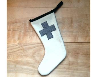SALE - Cross Wool Christmas Stocking - Geometric Gray Rustic