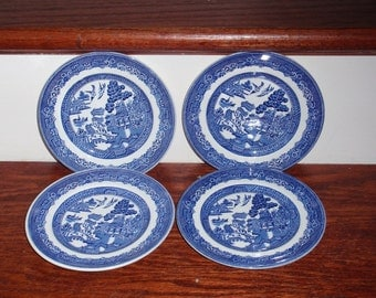 """JOHNSON BROTHERS BLUE Willow Round 6 1/2"""" Bread Butter Dessert Plate China Porcelain  England Discontinued White Blue Excellent Condition"""