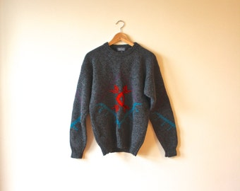 Speckled Charcoal Navajo Grey Wool Vintage Sweater Mens Medium Gift for Him