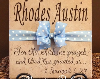Personalized Adoption Gift or Baby Shower Vinyl Art Decorative Tile