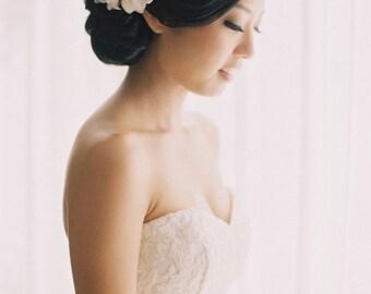 Wedding Hair Flower - Ivory White Bridal Hair Comb - Handmade Bridal Hair Accessories - Rhinestone Flower Center - Style FL1201R