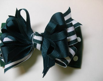 Uniform Hunter Forest Green Stripe and Dot Boutique Layered Hair Bow